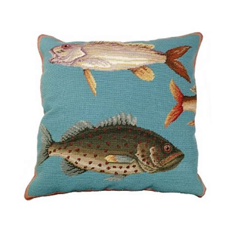 Fish Pillow by Saltwater Fish 1 Needlepoint Pillow