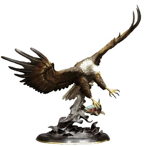 quot fly fishing quot bronze eagle statue
