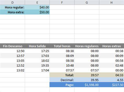 valor hora extra calcular horas extras en excel excel total