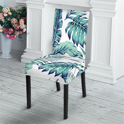 pattern tropical palm leaves dining chair slipcover jorjune