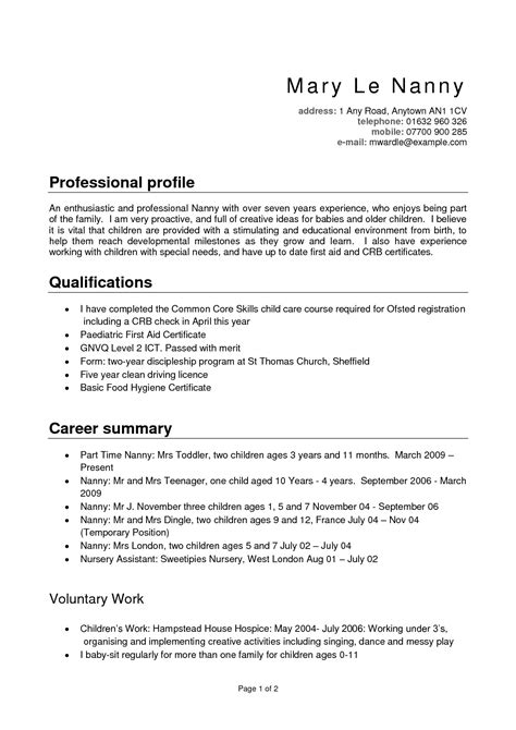 Professional Nanny Resume by Nanny Duties And Responsibilities Resume Resume Ideas