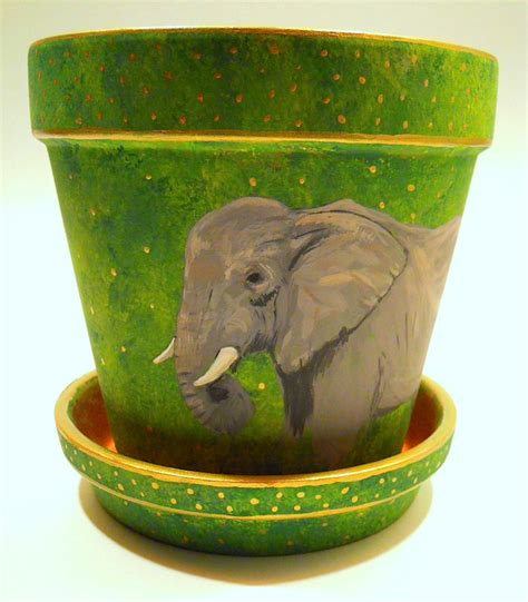 an elephant a day elephant no 300 painted terracotta