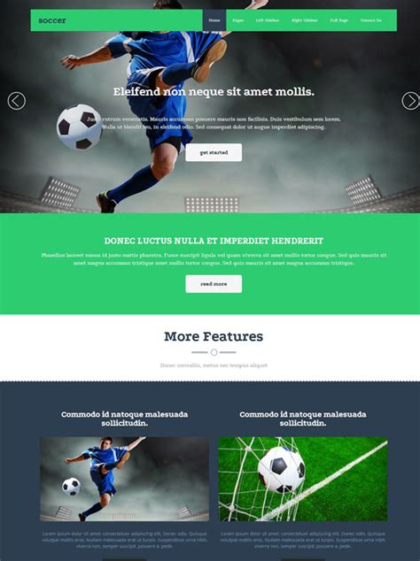 Soccer Sport Website Template Soccer Sports Dreamtemplate Sports Website Templates