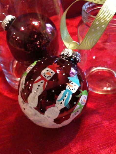 kids hand print snowman bulb decor gift for christmas