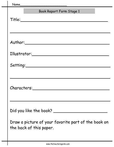 Basic Book Report Guidelines by Book Report Worksheets From The S Guide