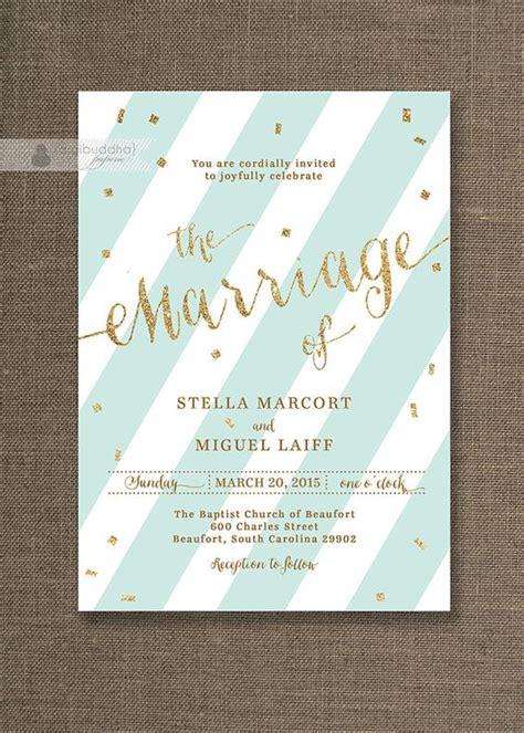seafoam green and gold wedding invitations mint green gold wedding invitation stripes with glitter