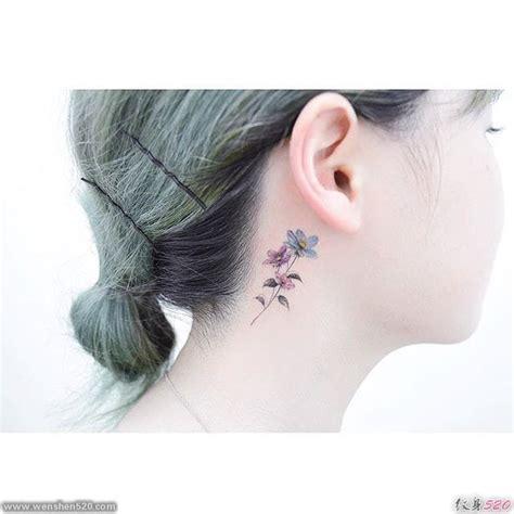 可爱清新女生耳朵后面漂亮的小花朵纹身图案第7页