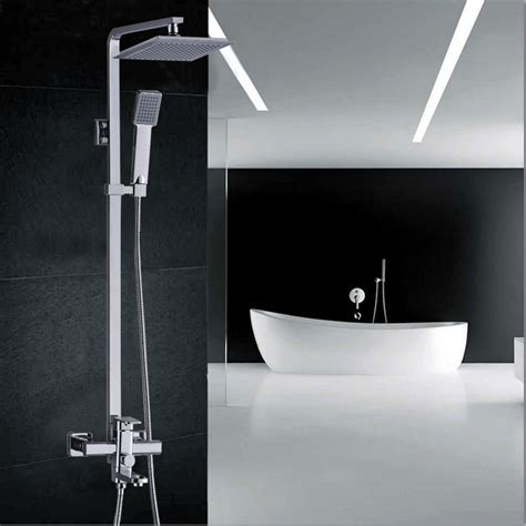 bathtub faucet height chrome finished wall mount big rain shower set mixer faucet bathroom adjust height