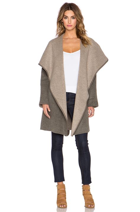 draped coats vince draped wool blend coat in brown lyst