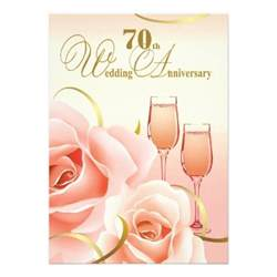 70th anniversary color 70th wedding anniversary invitations 5 quot x 7