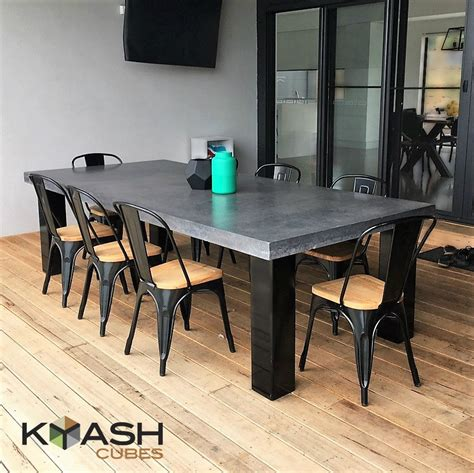 Polished Concrete Dining Table Polished Concrete 8 To 10 Seater Dining Table With 4 Powder