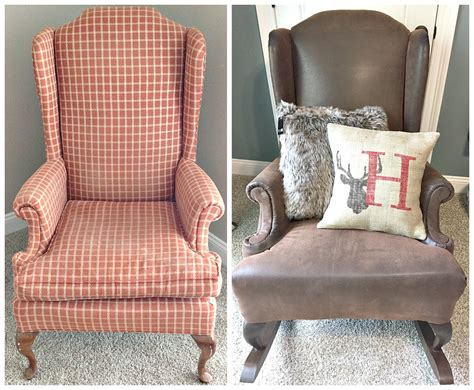 how to reupholster a wingback armchair diy rustic reupholstered wing back rocker rockers