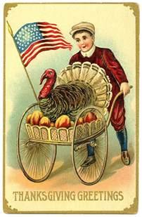 vintage thanksgiving image boy with patriotic turkey