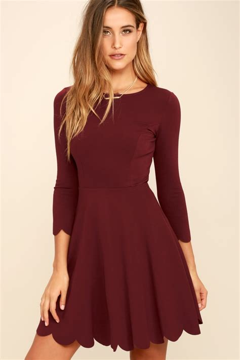 burgundy skater dress long sleeve dress skater dress