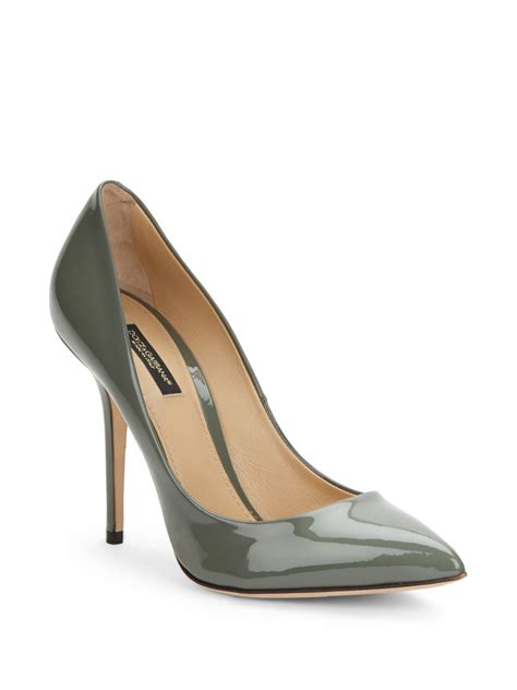 Dolce Gabbana Perspex Patent Dorsay by Dolce Gabbana Patent Leather Pumps In Khaki Black Lyst