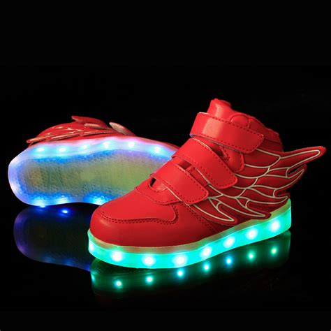 Wings Low Led 1 children led shoes with wings boys usb charge luminous glow shoe light up fashion sneakers