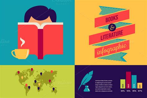 infographic book layout books infographic and icons illustrations on creative market
