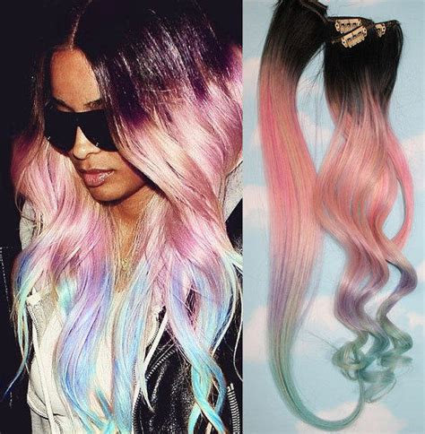 hair extension tips light pastel dip dyed hair clip in hair from cloud9jewels on