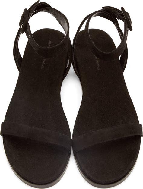 Sandal Wedges Wg12 Black 1 lyst wang black suede alana flat sandals in black