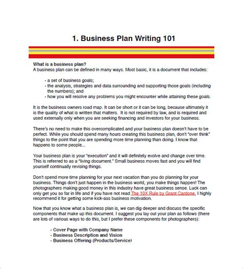 create a business plan template photography business plan template 10 free word excel