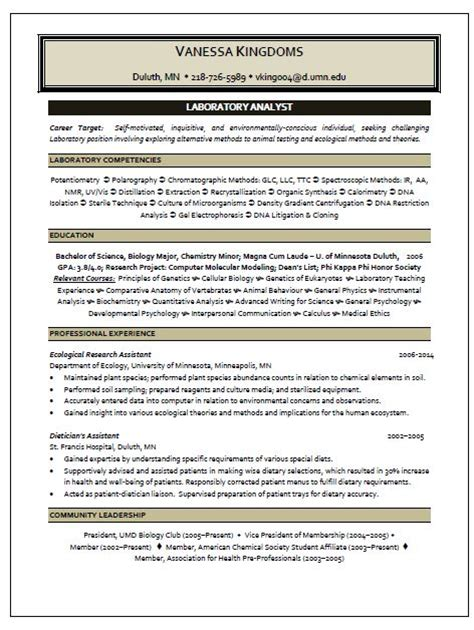 Business Analyst Resume Summary Examples by Laboratory Analyst Resume Sample Resume Writing Service