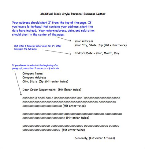 formal friendly letter format personal business letter format 7 free