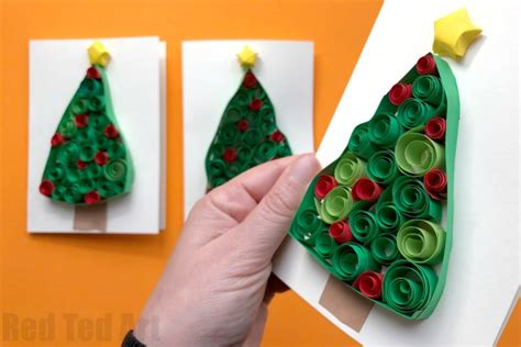 christmas card craft ks2 quilled tree cards ted s