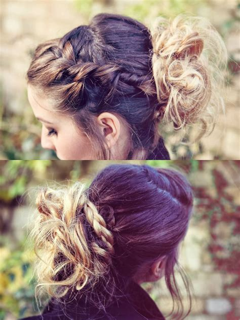 cornrows and loose bun zoella style braids and messy bun braids updo ombre