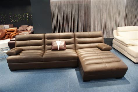 l for room furniture brown leather deep sectional sofa with chaise