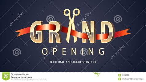 isotope layout event grand opening vector with scissors cartoon vector