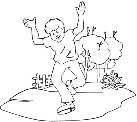 coloring page of boy running kidprintables com spring coloring pages