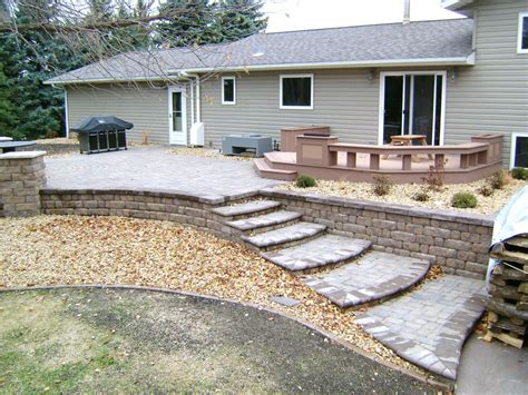 paver patio with retaining wall backyard pit with seat wall and paver patio oasis