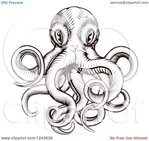 clipart of a brown woodblock octopus royalty free vector