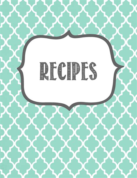 printable recipe binder set editable pdf cookbook recipe pages
