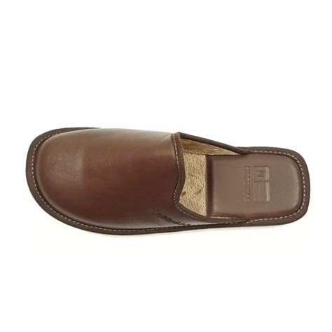 mens best slippers top line 131 ohio brown leather mule slipper