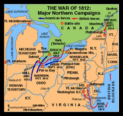 battle of thames river map war of 1812 battles