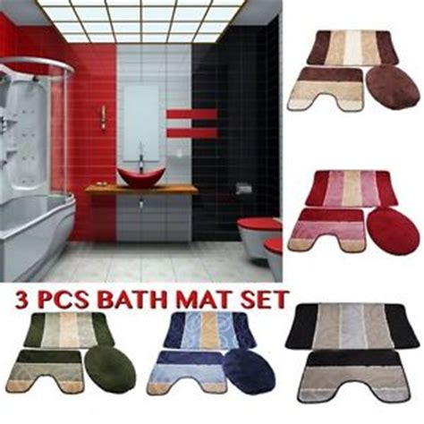 Bathroom Set 3 Pcs Bm010 3 pieces anti slip bathroom mat set 3 pcs toilet rug set stripe bath mat ebay