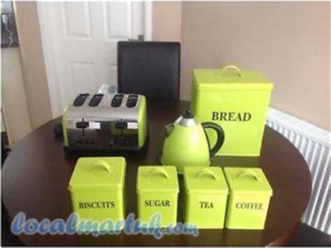 Kettle And Toasters Lime Green Kettle Toaster Bread Bin Sugar Coffee Tea