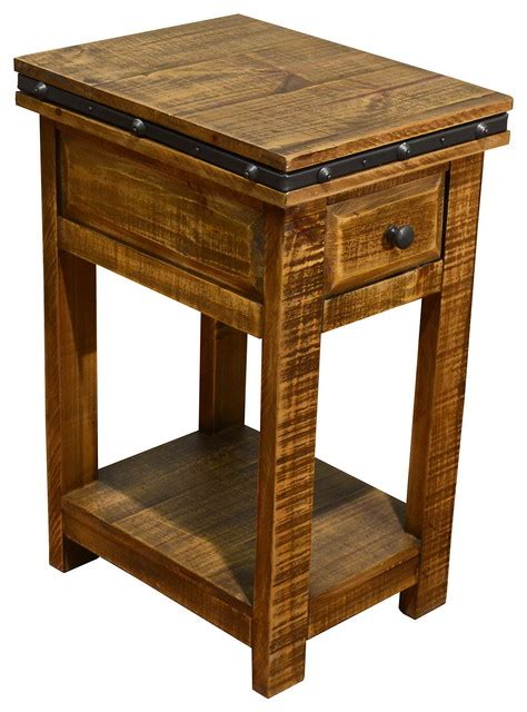 rustic wood accent tables rustic solid wood side table narrow nightstand with drawer