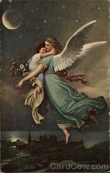 angel holding small child   night sky angels