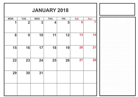 january 2018 calendar template doc printable january 2018 calendar template