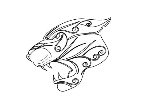 plain outline panther head with curled elements tattoo