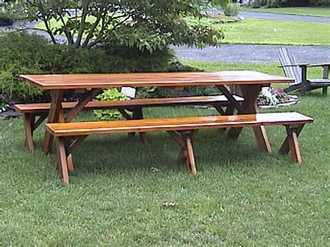 free picnic table plans with separate benches free plans for picnic table with separate benches quick woodworking projects