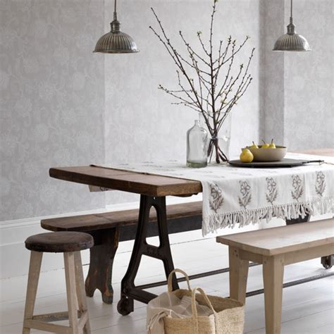 dining room with grey damask wallpaper how to decorate