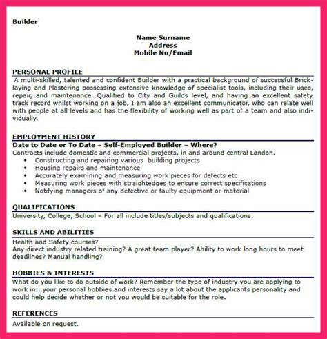 Resume Personal Interests Exles by Personal Interests Exles Bio Letter Format