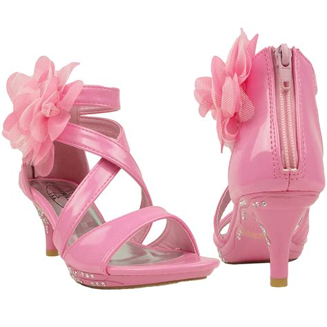 kid high heels dress sandals strappy rhinestones high heel flower