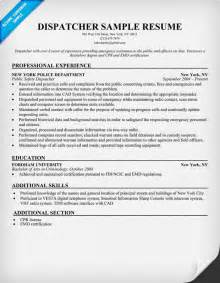 Resume For Dispatcher exle resume sle resume dispatcher