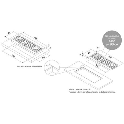 piani cottura schock piano cottura schock filo pc110avg acciaio inox montaggio