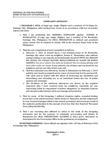Complaint Letter Defamation Complaint Affidavit For Defamation