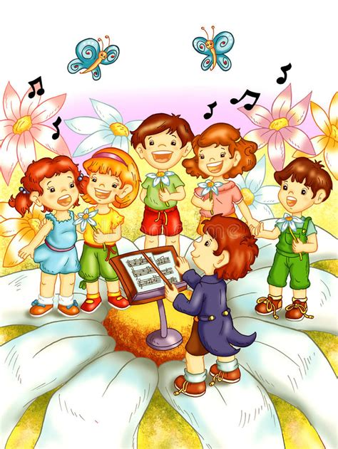 immagini clipart bambini bambini cantano illustrazione di stock illustrazione